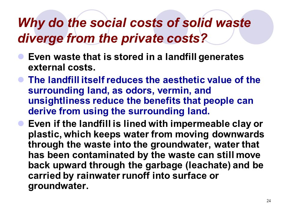 24 Why do the social costs of solid waste diverge from the private costs.