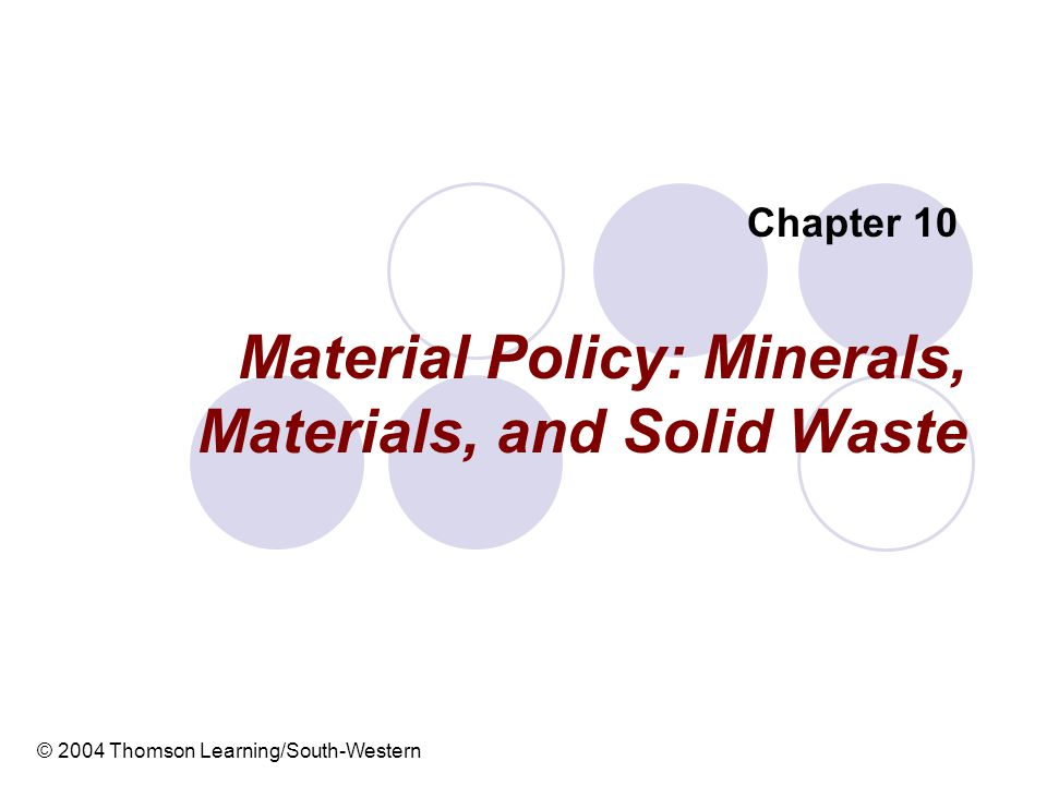 4 Introduction This chapter focuses on the question of whether we have a socially efficient level of waste and whether our production, consumption, and waste treatment policies are efficient.