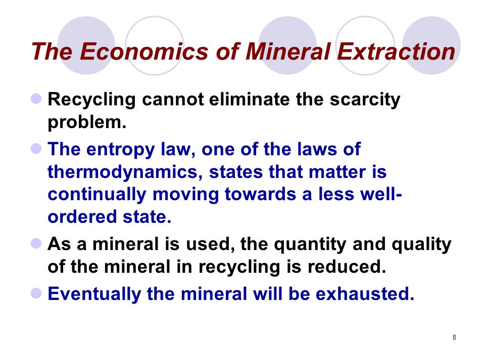 9 Market Failures in the Extraction of Mineral Resources Environmental externalities are the result of the waste that is generated and the disruption of the landscape that occurs as a result of mining and refining activities.
