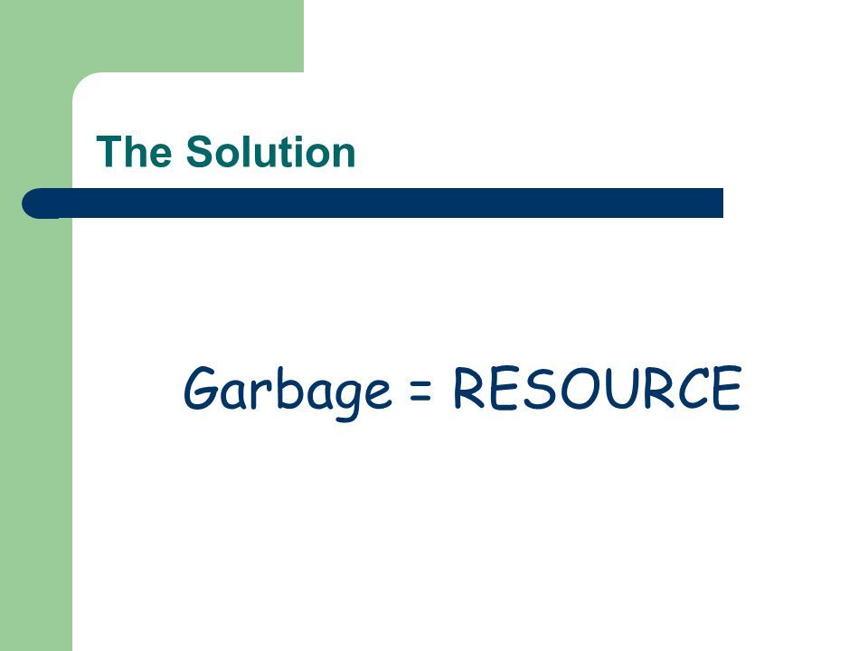 The Solution Garbage = RESOURCE