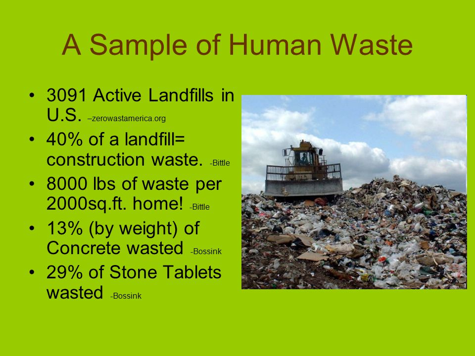 A Sample of Human Waste 3091 Active Landfills in U.S.