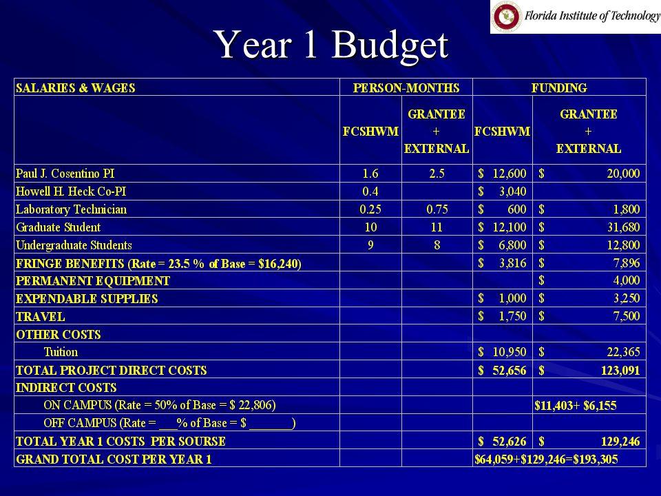 Year 1 Budget