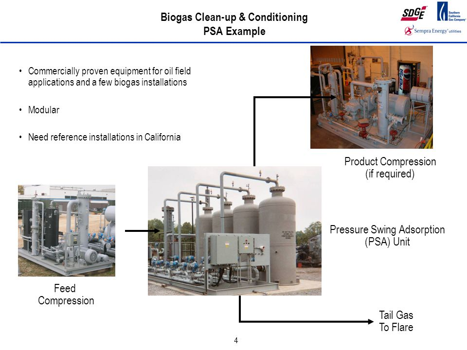 4 Biogas Clean-up & Conditioning PSA Example Feed Compression Pressure Swing Adsorption (PSA) Unit Product Compression (if required) Tail Gas To Flare Commercially proven equipment for oil field applications and a few biogas installations Modular Need reference installations in California