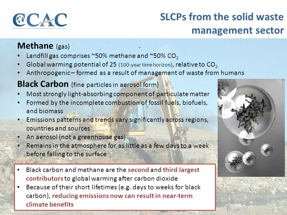 SLCPs from the solid waste management sector Black Carbon (fine particles in aerosol form) Most strongly light-absorbing component of particulate matter Formed by the incomplete combustion of fossil fuels, biofuels, and biomass Emissions patterns and trends vary significantly across regions, countries and sources An aerosol (not a greenhouse gas) Remains in the atmosphere for as little as a few days to a week before falling to the surface Methane (gas) Landfill gas comprises ~50% methane and ~50% CO 2 Global warming potential of 25 (100-year time horizon), relative to CO 2 Anthropogenic – formed as a result of management of waste from humans Black carbon and methane are the second and third largest contributors to global warming after carbon dioxide Because of their short lifetimes (e.g.