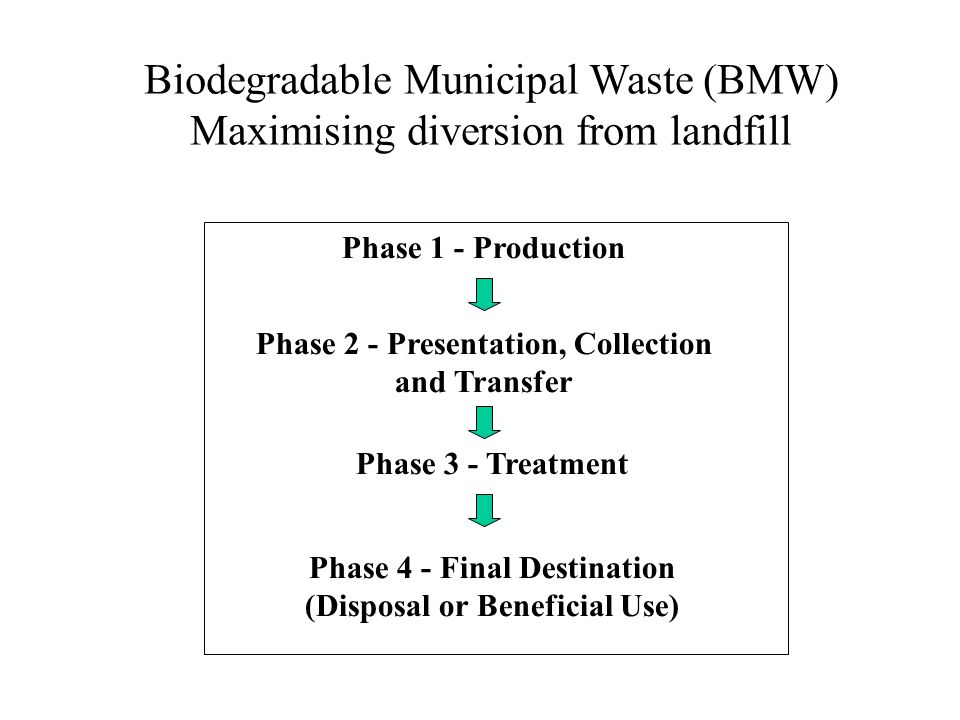 Biodegradable Municipal Waste (BMW) Maximising diversion from landfill Phase 1 - Production Phase 2 - Presentation, Collection and Transfer Phase 3 -