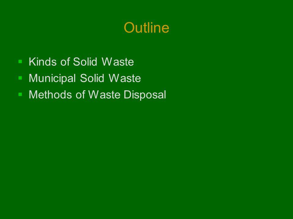 Outline  Kinds of Solid Waste  Municipal Solid Waste  Methods of Waste Disposal