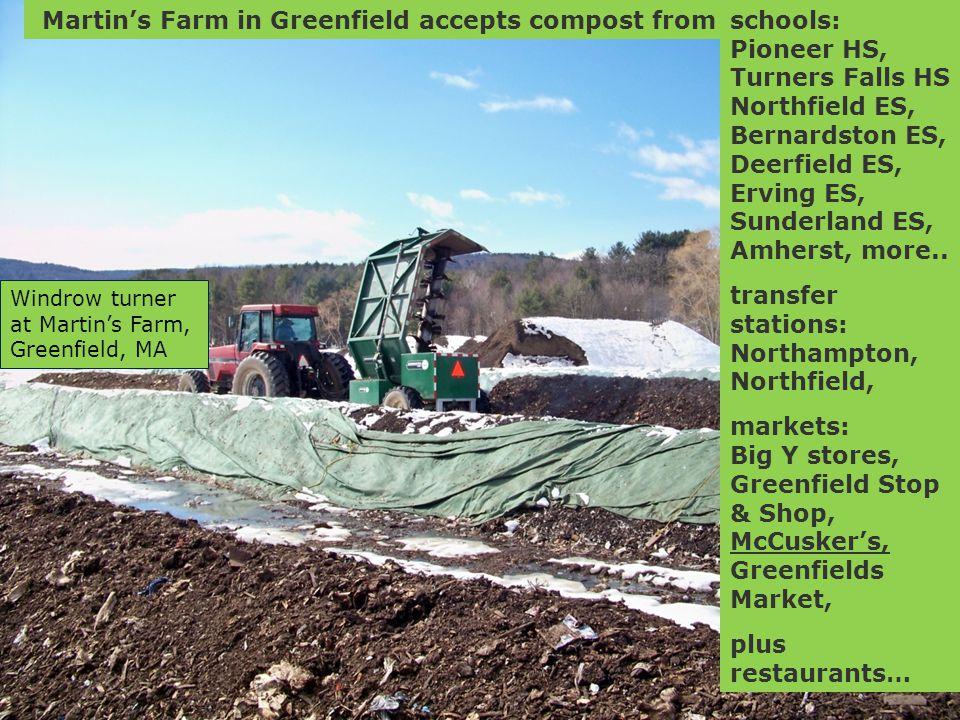 Martin's Farm in Greenfield accepts compost fromschools: Pioneer HS, Turners Falls HS Northfield ES, Bernardston ES, Deerfield ES, Erving ES, Sunderland ES, Amherst, more..