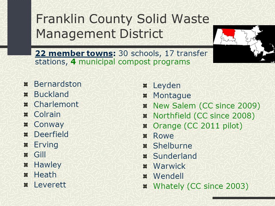 Solid Waste District Highlights: Recycling coordinator for Franklin County Annual Household Hazardous Waste Day Twice annual Bulky Waste Day (+ e-waste) Sharps Disposal Program What Do I Do With….