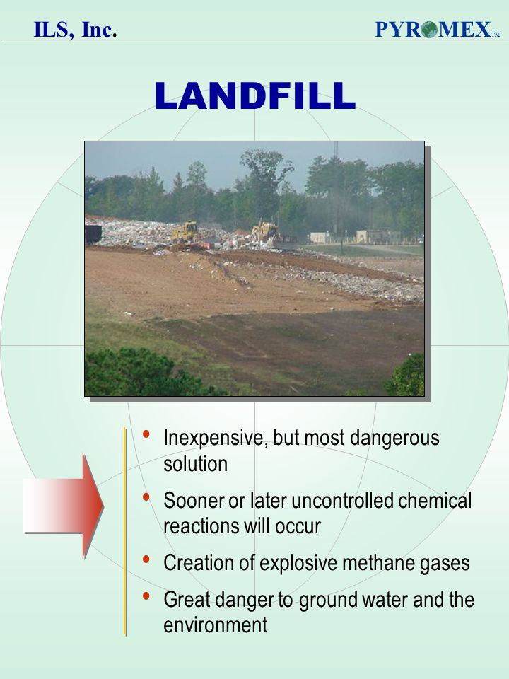 LANDFILL Inexpensive, but most dangerous solution Sooner or later uncontrolled chemical reactions will occur Creation of explosive methane gases Great danger to ground water and the environment PYR MEX TM ILS, Inc.