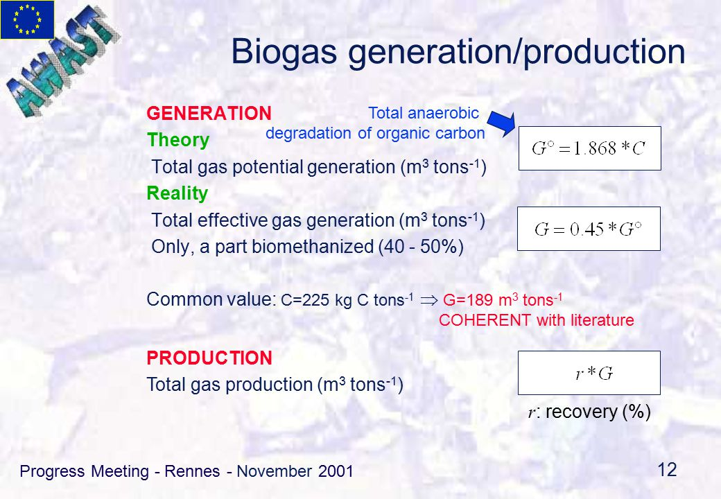 Progress Meeting - Rennes - November 2001 12 Biogas generation/production GENERATION Theory Total gas potential generation (m 3 tons -1 ) Reality Total effective gas generation (m 3 tons -1 ) Only, a part biomethanized (40 - 50%) Common value: C=225 kg C tons -1  G=189 m 3 tons -1 COHERENT with literature PRODUCTION Total gas production (m 3 tons -1 ) r : recovery (%) Total anaerobic degradation of organic carbon