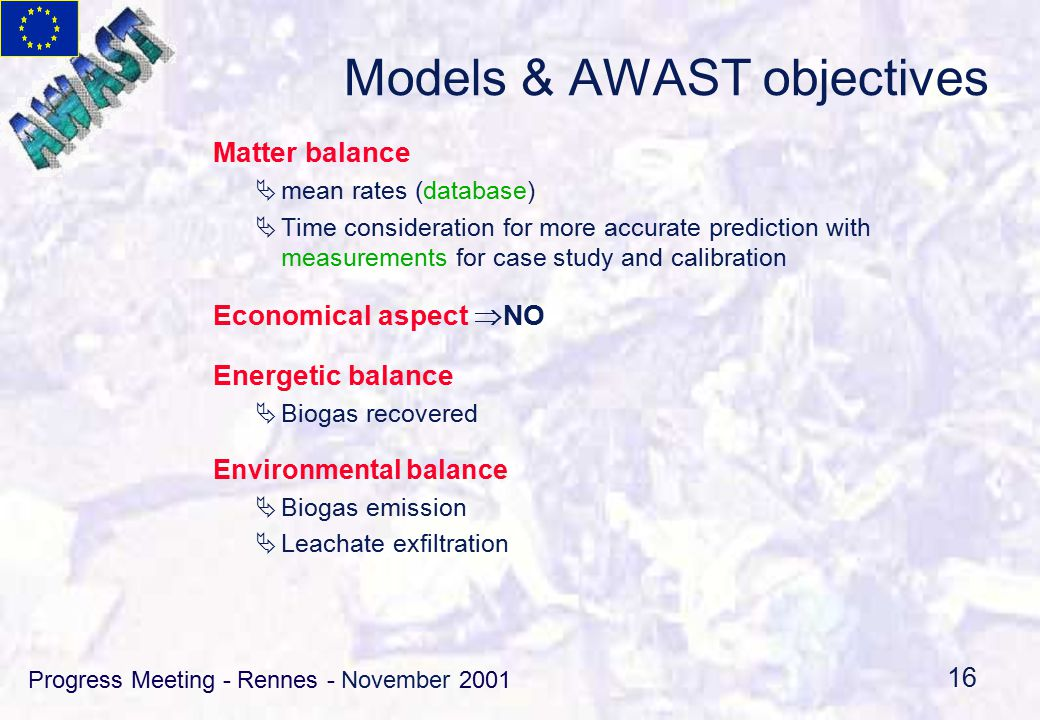 Progress Meeting - Rennes - November 2001 16 Models & AWAST objectives Matter balance  mean rates (database)  Time consideration for more accurate prediction with measurements for case study and calibration Economical aspect  NO Energetic balance  Biogas recovered Environmental balance  Biogas emission  Leachate exfiltration