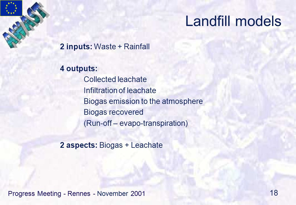Progress Meeting - Rennes - November 2001 18 Landfill models 2 inputs: Waste + Rainfall 4 outputs: Collected leachate Infiltration of leachate Biogas emission to the atmosphere Biogas recovered (Run-off – evapo-transpiration) 2 aspects: Biogas + Leachate