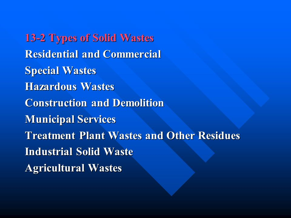 13-2 Types of Solid Wastes Residential and Commercial Special Wastes Hazardous Wastes Construction and Demolition Municipal Services Treatment Plant W