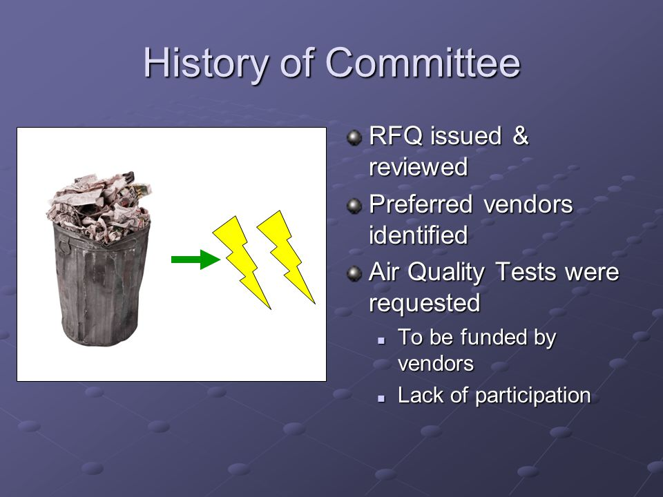 History of Committee RFQ issued & reviewed Preferred vendors identified Air Quality Tests were requested To be funded by vendors Lack of participation