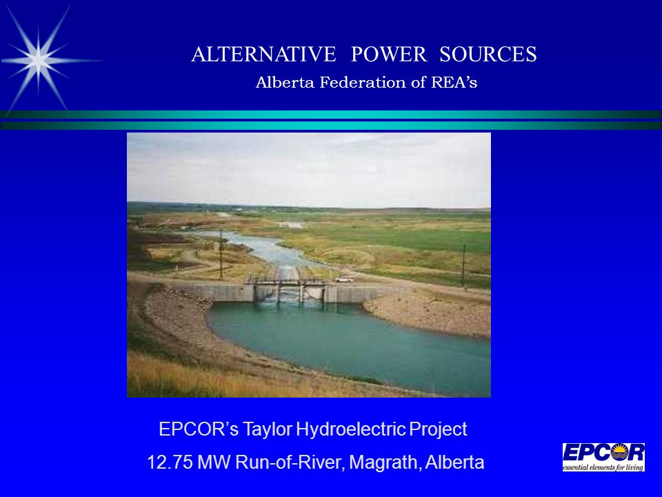 EPCOR's Taylor Hydroelectric Project 12.75 MW Run-of-River, Magrath, Alberta