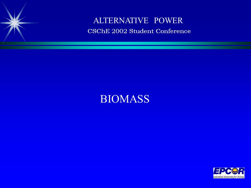 BIOMASS ALTERNATIVE POWER CSChE 2002 Student Conference