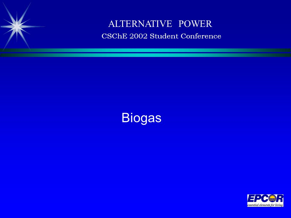 ALTERNATIVE POWER CSChE 2002 Student Conference Biogas