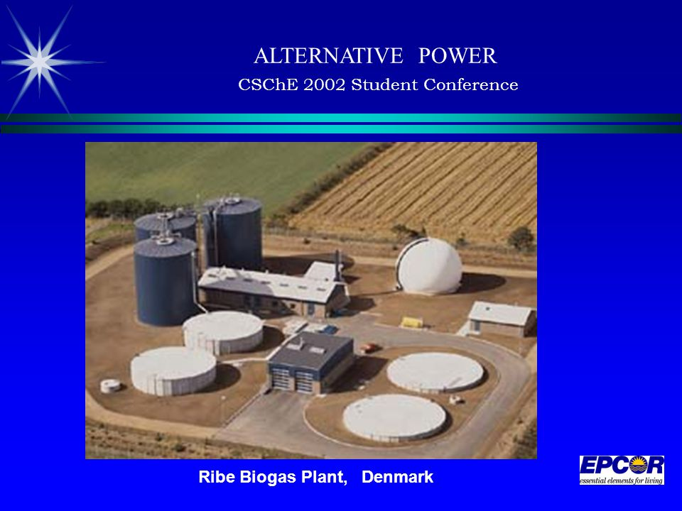 ALTERNATIVE POWER CSChE 2002 Student Conference Ribe Biogas Plant, Denmark