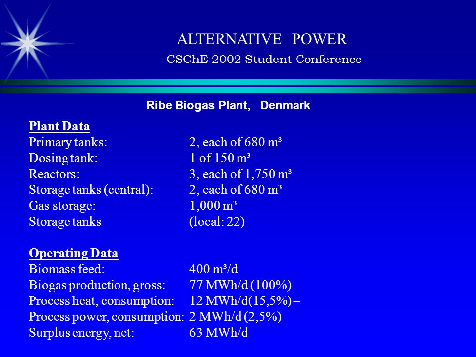 ALTERNATIVE POWER CSChE 2002 Student Conference Ribe Biogas Plant, Denmark Plant Data Primary tanks: 2, each of 680 m³ Dosing tank: 1 of 150 m³ Reactors: 3, each of 1,750 m³ Storage tanks (central): 2, each of 680 m³ Gas storage: 1,000 m³ Storage tanks (local: 22) Operating Data Biomass feed: 400 m³/d Biogas production, gross: 77 MWh/d (100%) Process heat, consumption: 12 MWh/d(15,5%) – Process power, consumption: 2 MWh/d (2,5%) Surplus energy, net: 63 MWh/d