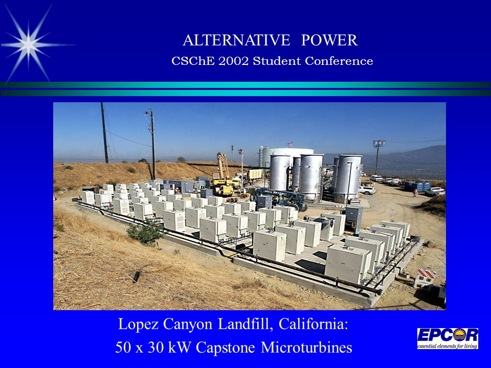 ALTERNATIVE POWER CSChE 2002 Student Conference Lopez Canyon Landfill, California: 50 x 30 kW Capstone Microturbines