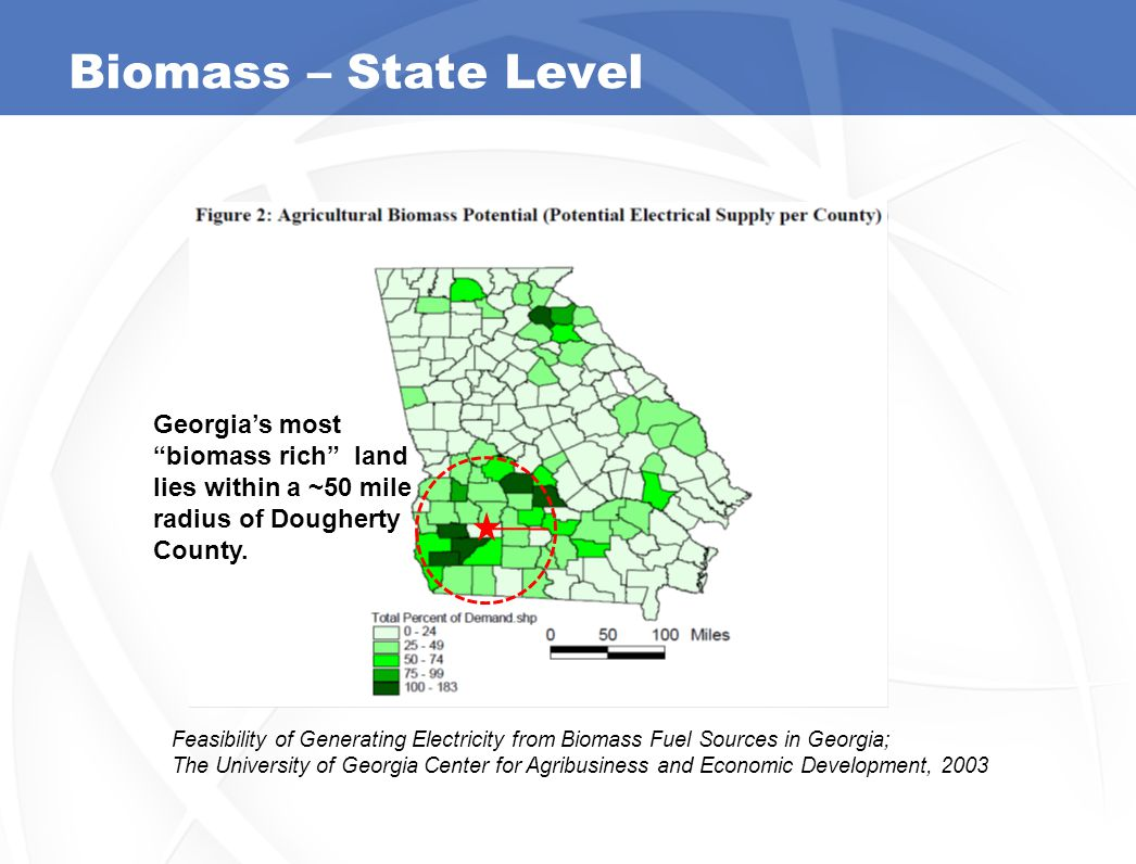 Biomass – State Level Feasibility of Generating Electricity from Biomass Fuel Sources in Georgia; The University of Georgia Center for Agribusiness and Economic Development, 2003 Georgia's most biomass rich land lies within a ~50 mile radius of Dougherty County.