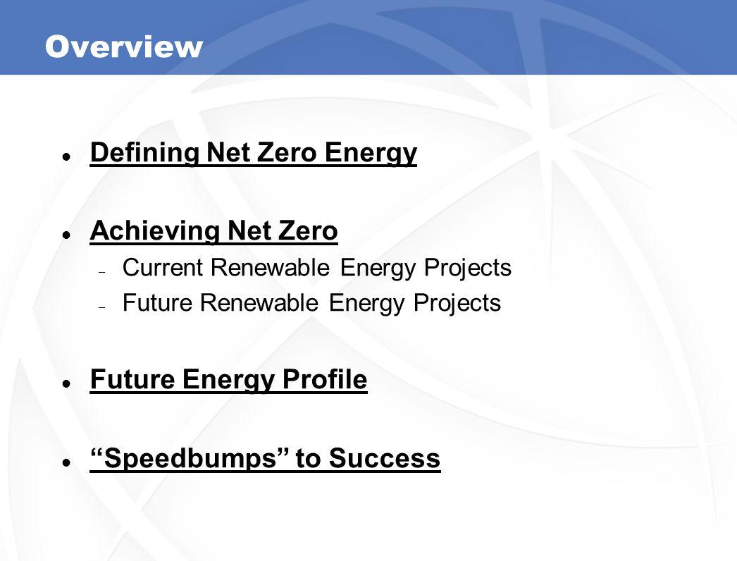 "Overview Defining Net Zero Energy Achieving Net Zero – Current Renewable Energy Projects – Future Renewable Energy Projects Future Energy Profile ""Spe"