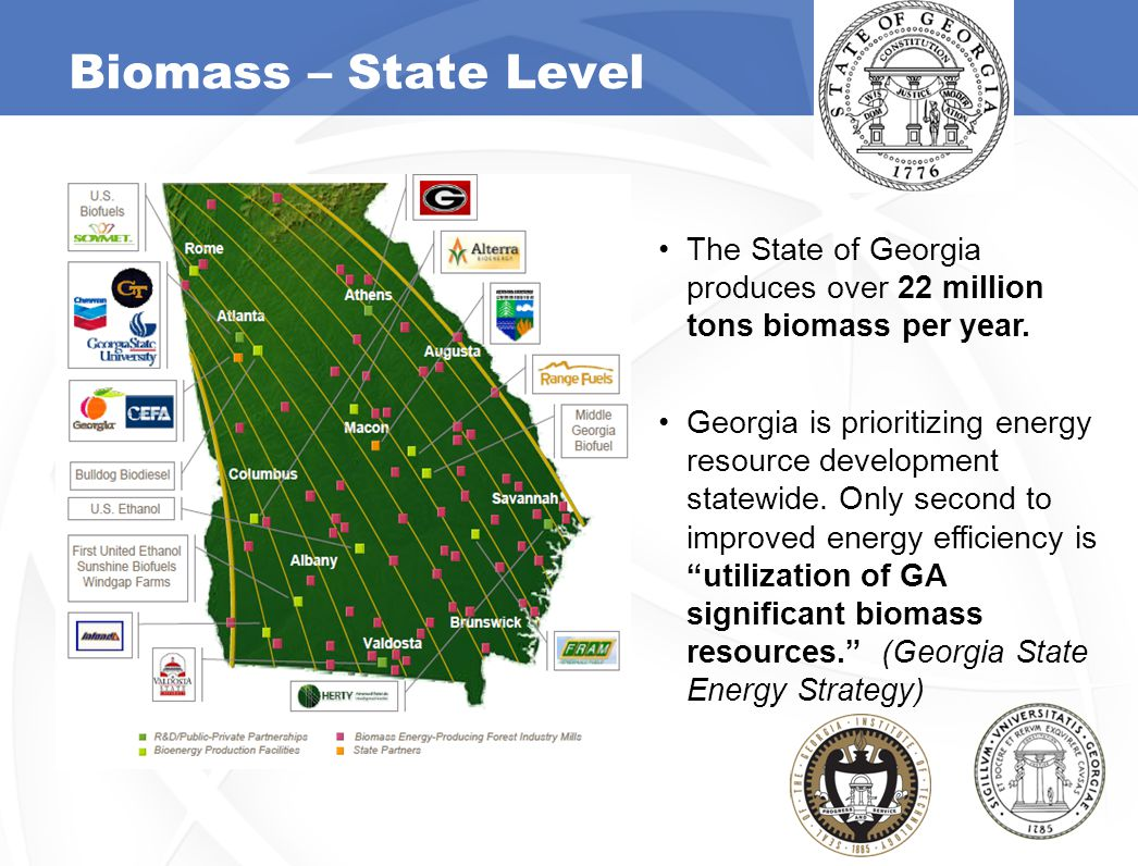 Biomass – State Level The State of Georgia produces over 22 million tons biomass per year. Georgia is prioritizing energy resource development statewi