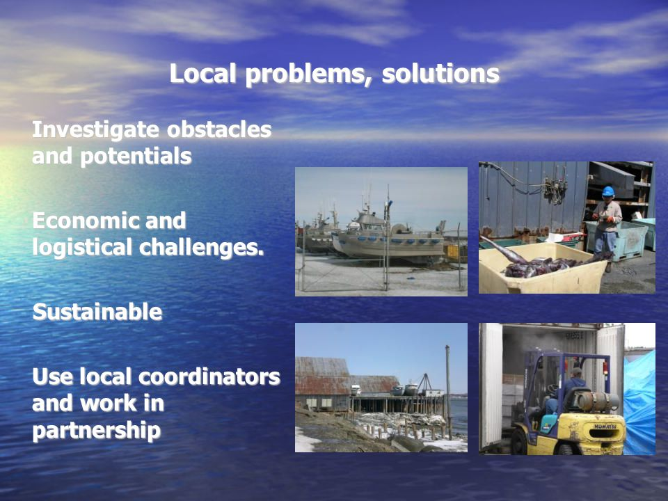 Local problems, solutions Investigate obstacles and potentials Economic and logistical challenges.
