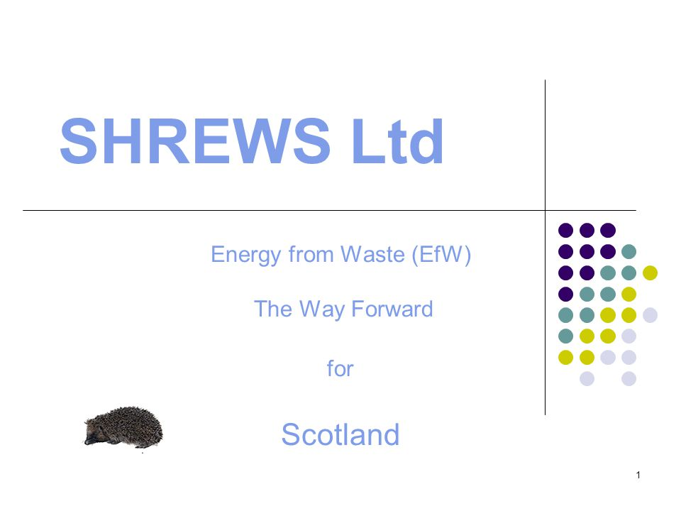 1 SHREWS Ltd Energy from Waste (EfW) The Way Forward for Scotland