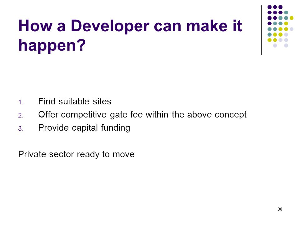 30 How a Developer can make it happen. 1. Find suitable sites 2.