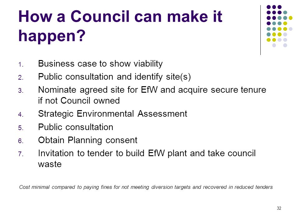 32 How a Council can make it happen. 1. Business case to show viability 2.