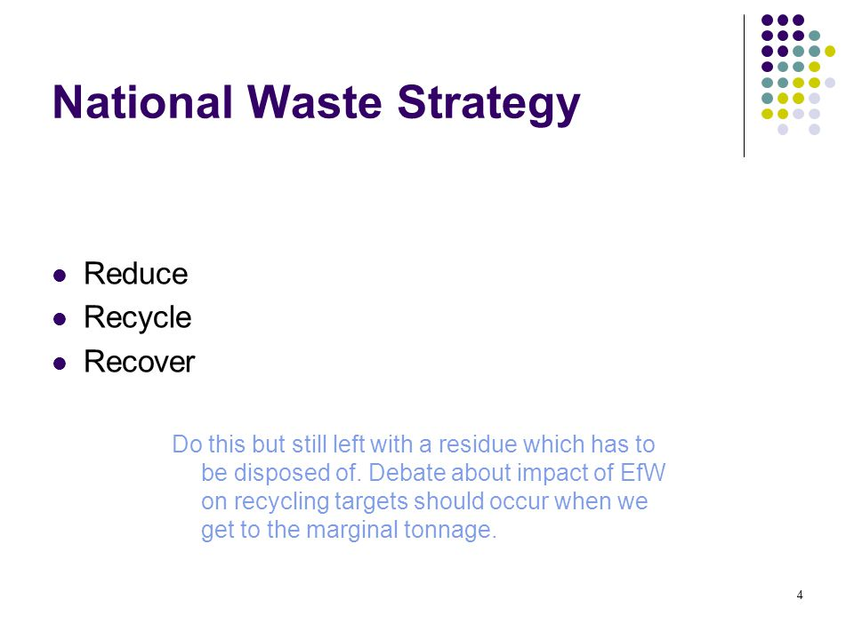 4 National Waste Strategy Reduce Recycle Recover Do this but still left with a residue which has to be disposed of.