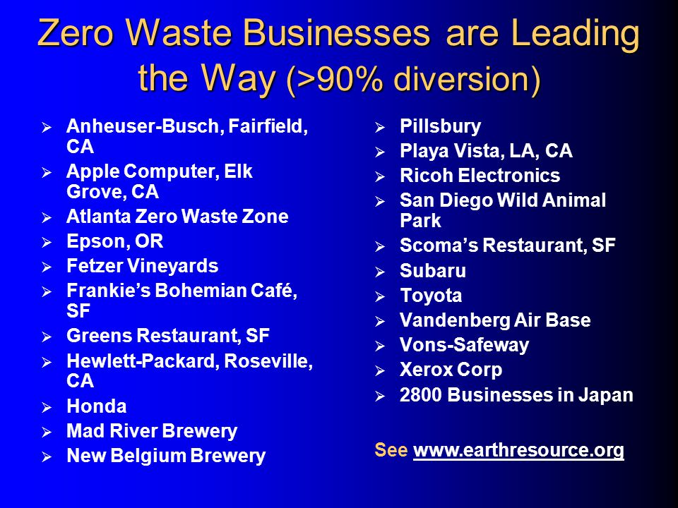 Zero Waste Businesses are Leading the Way (>90% diversion)  Anheuser-Busch, Fairfield, CA  Apple Computer, Elk Grove, CA  Atlanta Zero Waste Zone  Epson, OR  Fetzer Vineyards  Frankie's Bohemian Café, SF  Greens Restaurant, SF  Hewlett-Packard, Roseville, CA  Honda  Mad River Brewery  New Belgium Brewery  Pillsbury  Playa Vista, LA, CA  Ricoh Electronics  San Diego Wild Animal Park  Scoma's Restaurant, SF  Subaru  Toyota  Vandenberg Air Base  Vons-Safeway  Xerox Corp  2800 Businesses in Japan See www.earthresource.orgwww.earthresource.org