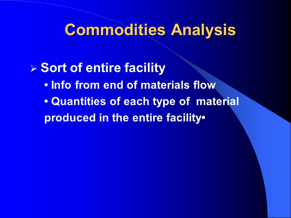  Sort of entire facility Info from end of materials flow Quantities of each type of material produced in the entire facility Commodities Analysis