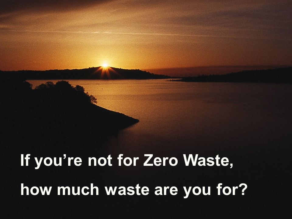 If you're not for Zero Waste, how much waste are you for?