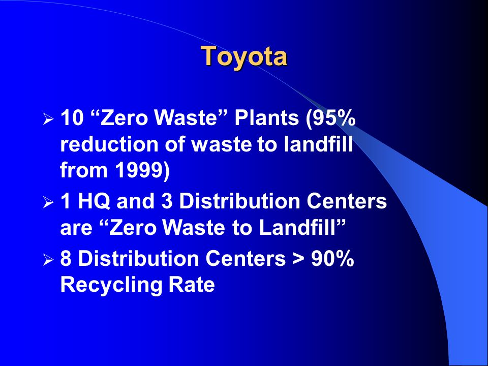 Toyota  10 Zero Waste Plants (95% reduction of waste to landfill from 1999)  1 HQ and 3 Distribution Centers are Zero Waste to Landfill  8 Distribution Centers > 90% Recycling Rate