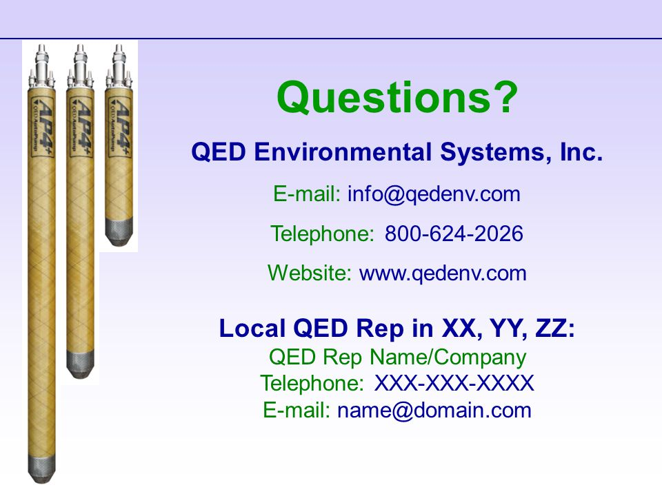 Questions. QED Environmental Systems, Inc.