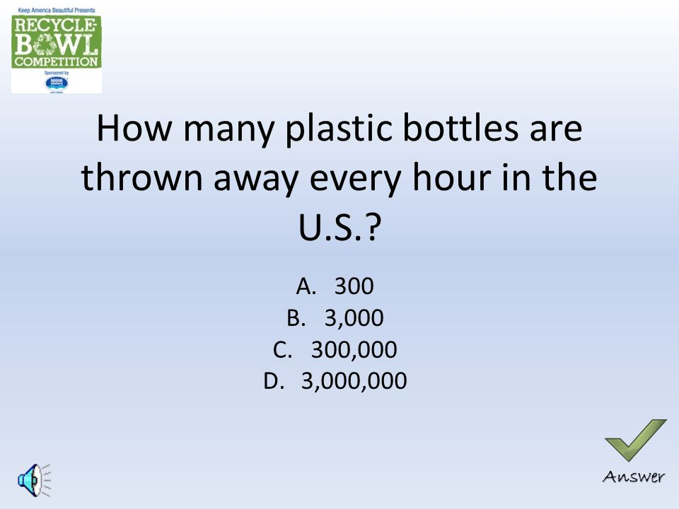 Correct Answer: B 54% of waste generated in the U.S.