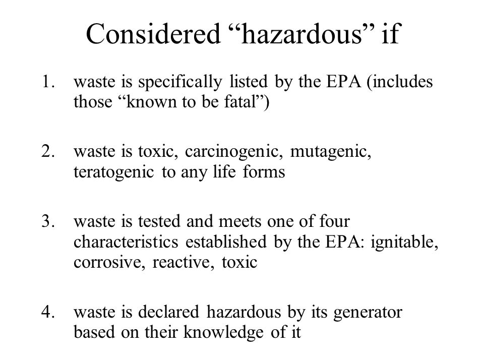 Federal Regulations Resource Conservation and Recovery Act (RCRA) Hazardous and Solid Waste Amendments (HSWA) Comprehensive Environmental Response, Compensation and Liability Act (CERCLA) Superfund Amendments and Reauthorization Act (SARA)