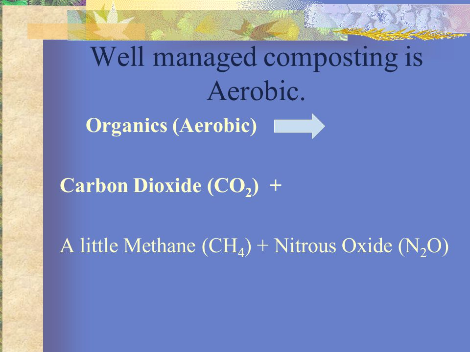 Well managed composting is Aerobic. Organics (Aerobic) Carbon Dioxide (CO 2 ) + A little Methane (CH 4 ) + Nitrous Oxide (N 2 O)