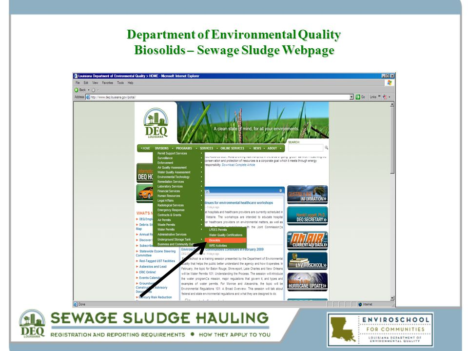 Department of Environmental Quality Biosolids – Sewage Sludge Webpage