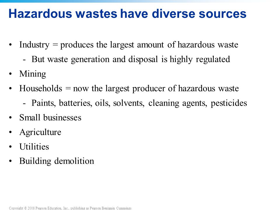 Copyright © 2008 Pearson Education, Inc., publishing as Pearson Benjamin Cummings Hazardous wastes have diverse sources Industry = produces the largest amount of hazardous waste -But waste generation and disposal is highly regulated Mining Households = now the largest producer of hazardous waste -Paints, batteries, oils, solvents, cleaning agents, pesticides Small businesses Agriculture Utilities Building demolition