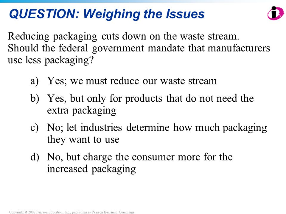 Copyright © 2008 Pearson Education, Inc., publishing as Pearson Benjamin Cummings QUESTION: Weighing the Issues a) Yes; we must reduce our waste stream b) Yes, but only for products that do not need the extra packaging c) No; let industries determine how much packaging they want to use d) No, but charge the consumer more for the increased packaging Reducing packaging cuts down on the waste stream.