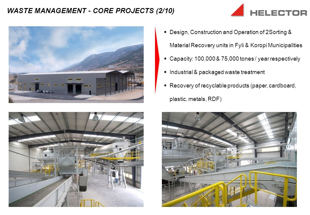 Design, Construction and Operation of 2Sorting & Material Recovery units in Fyli & Koropi Municipalities  Capacity: 100,000 & 75,000 tones / year respectively  Industrial & packaged waste treatment  Recovery of recyclable products (paper, cardboard, plastic, metals, RDF) WASTE MANAGEMENT - CORE PROJECTS (2/10)