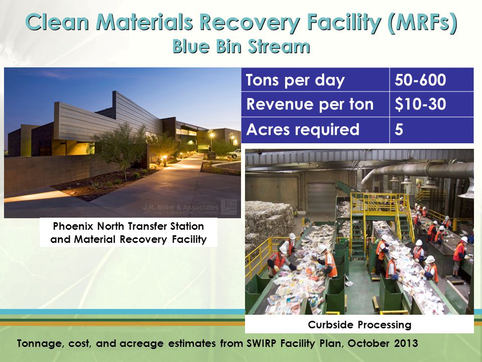 Clean Materials Recovery Facility (MRFs) Blue Bin Stream Tons per day50-600 Revenue per ton$10-30 Acres required5 Phoenix North Transfer Station and Material Recovery Facility Curbside Processing Tonnage, cost, and acreage estimates from SWIRP Facility Plan, October 2013