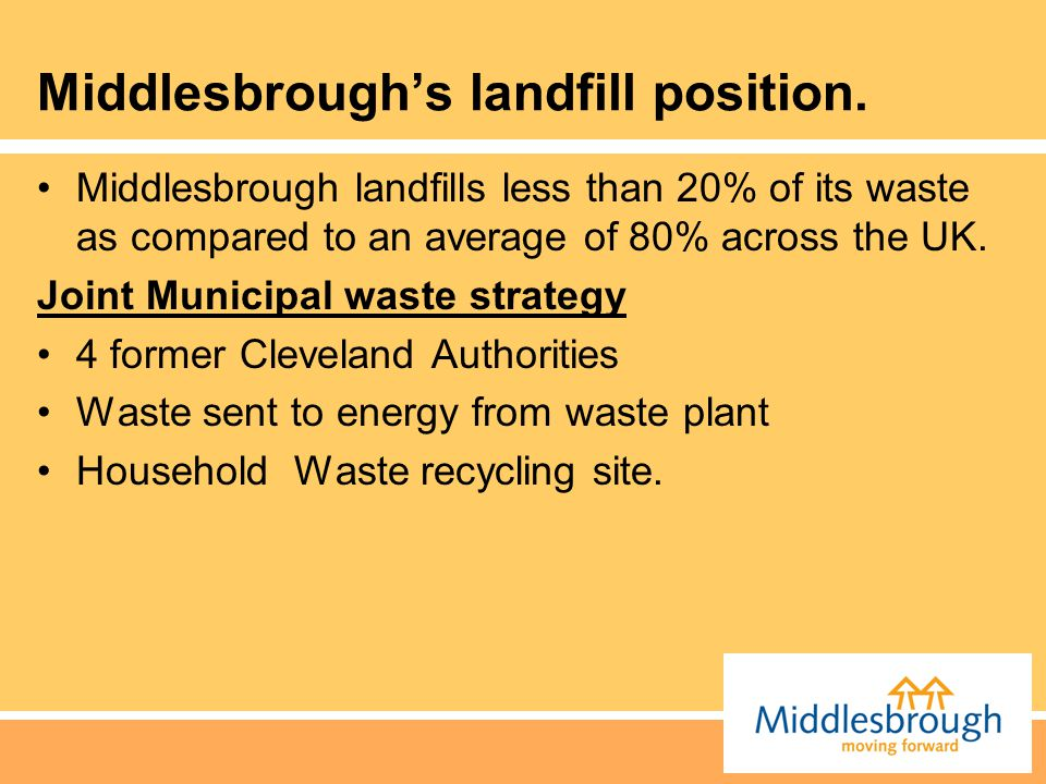Middlesbrough's landfill position.
