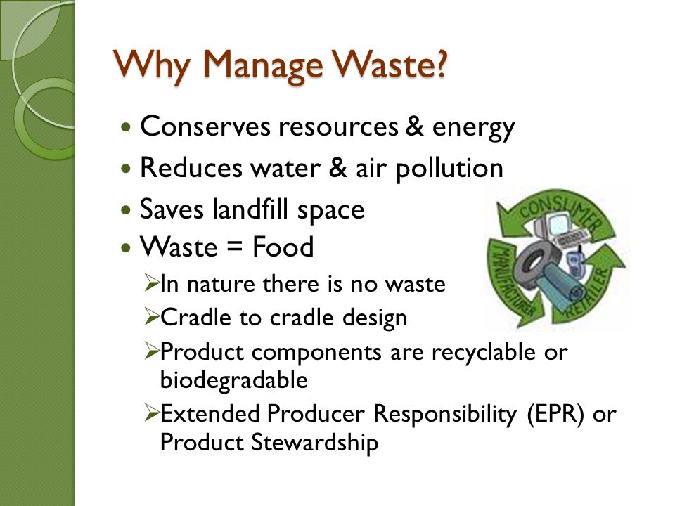 Why Manage Waste.