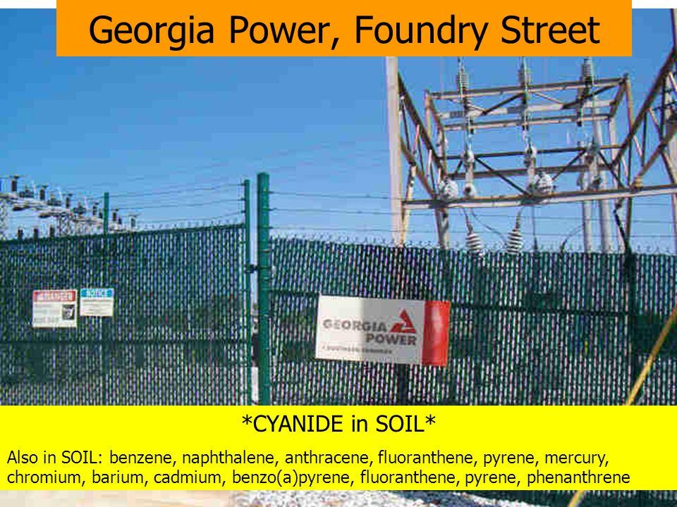 *CYANIDE in SOIL* Also in SOIL: benzene, naphthalene, anthracene, fluoranthene, pyrene, mercury, chromium, barium, cadmium, benzo(a)pyrene, fluoranthene, pyrene, phenanthrene Georgia Power, Foundry Street