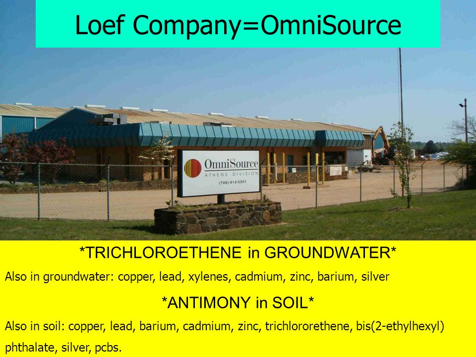 *TRICHLOROETHENE in GROUNDWATER* Also in groundwater: copper, lead, xylenes, cadmium, zinc, barium, silver *ANTIMONY in SOIL* Also in soil: copper, le
