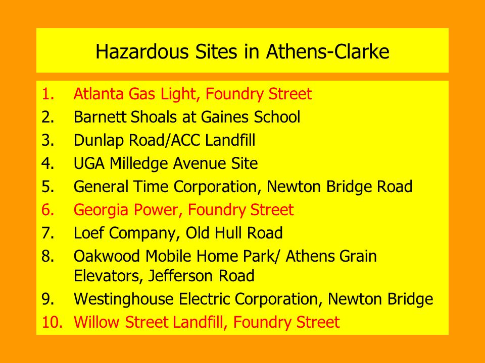 Hazardous Sites in Athens-Clarke 1.Atlanta Gas Light, Foundry Street 2.Barnett Shoals at Gaines School 3.Dunlap Road/ACC Landfill 4.UGA Milledge Avenue Site 5.General Time Corporation, Newton Bridge Road 6.Georgia Power, Foundry Street 7.Loef Company, Old Hull Road 8.Oakwood Mobile Home Park/ Athens Grain Elevators, Jefferson Road 9.Westinghouse Electric Corporation, Newton Bridge 10.Willow Street Landfill, Foundry Street